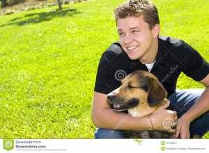 Young Man And His Dog Best