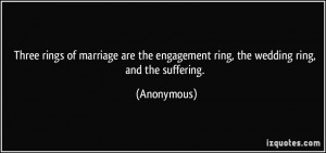 Three rings of marriage are the engagement ring, the wedding ring, and ...