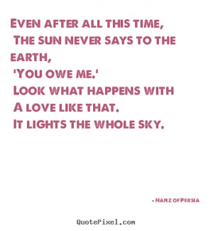 Hafiz of Persia Quotes - Even after all this time, The sun never says ...