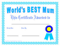 Mothers Day Award Certificates