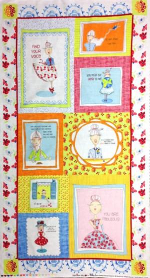 ... of Cardigan Girls Inspirational Quotes Blocks 24x44 Large Fabric Panel