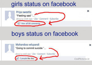 Girls VS Boys at Facebook Status Funny
