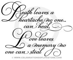 Funeral Poems and Funeral Quotes : Death Leaves a Heartache Funeral ...