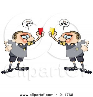 Angry Soccer Referee Toon Guys Holding Up Yellow And Red Pen...