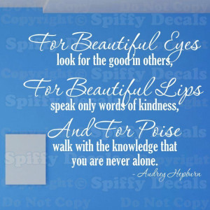 AUDREY HEPBURN BEAUTIFUL EYES LIPS POISE Quote Vinyl Wall Decal Decor
