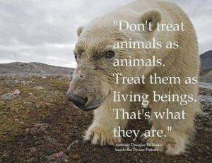Treat animals as living beings...