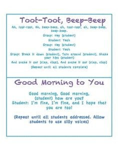 Morning Greetings and songs (responsive classroom) Morning Meeting ...