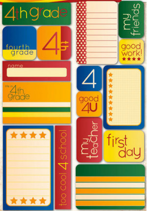 ... the Grade Collection - Die Cut Cardstock Stickers - Fourth Grade Quote