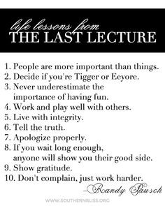 Life lessons from the Last Lecture http://m.youtube.com/watch?v=ji5 ...