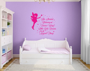 Girls fairy wall quote decal, stardust on pixie wings DB353