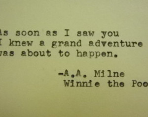 POOH quote love card hand printed adventure quote a a milne quote