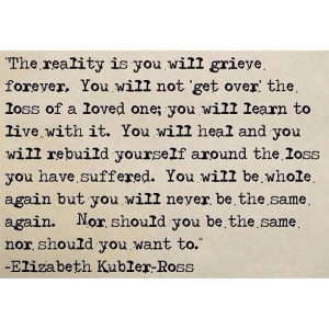 Dealing with the loss of a child. You never get over the loss of a ...