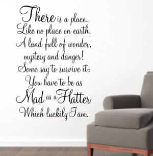 MAD AS A HATTER - Alice in Wonderland Quote Sticker - WA087X