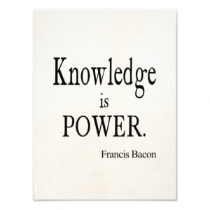 Vintage Francis Bacon Knowledge is Power Quote Photograph