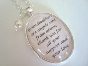 GRANDMOTHER of the bride quote pendant necklace, original quote