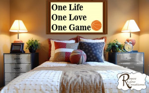 Basketball Varsity Letter Art Wall Decal with Basketball