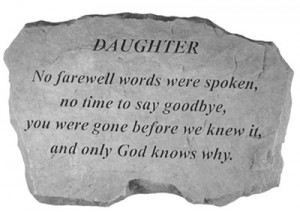 DAUGHTER Inscription Memorial Garden Stone