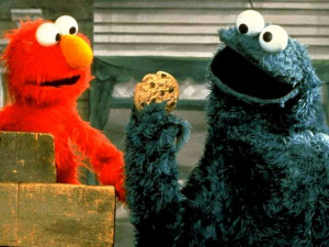 What color is elmo and cookie monster?
