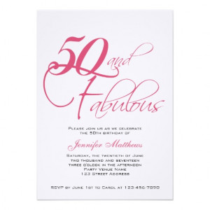 Pink Black 50th and Fabulous! Birthday Invitations