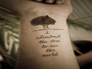 ... Tree Tattoo With Life Words Like A Metaphor Implying Struggles Of Life