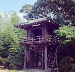 The bell tower of small Japanese temple.