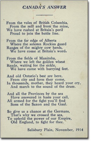 Canada's Answer - a poem - [voter card, Dominion election, December 17 ...