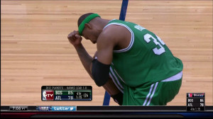 Paul Pierce Tebows against Hawks