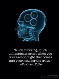 Much suffering, much unhappiness arises when you take each thought ...