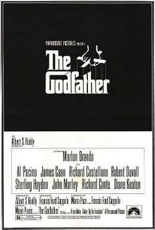 The Godfather written on a black background in stylized white ...