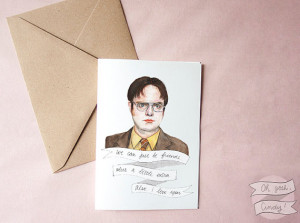 Dwight Schrute greeting card watercolor The Office Valentine's Day