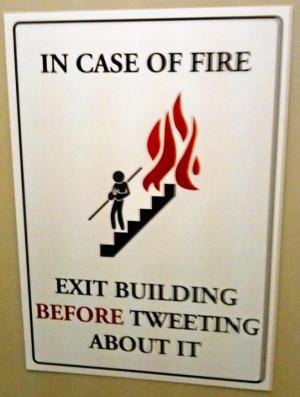In emergency Exit building before tweeting