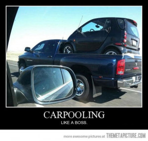 funny small car on truck