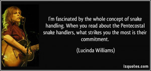 concept of snake handling. When you read about the Pentecostal snake ...