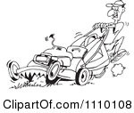 Black And White Cartoon Lawn Mower