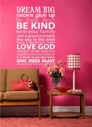 Wall Decal quote - DREAM BIG - Vinyl Wall Art Quote