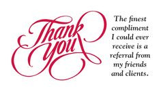 BACK-905A - Calligraphic Thank You in red with phrase on white ...