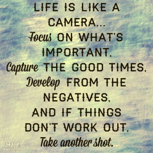 Life is Like a Camera, focus on what is important, capture the nice ...