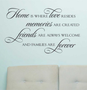 ... Wall Lettering Home Love resides Memories Created Family Forever Quote