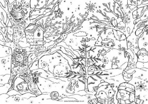Christmas woods colouring page
