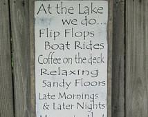 Lake Wood Sign Lake Rules Wo oden Sign At the Lake Wall Art Large Lake ...