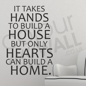 ... House, but only Hearts can build a Home - Love Wall Sticker Quote