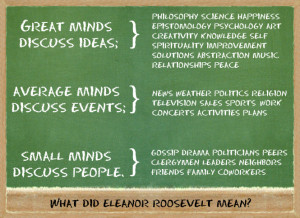 ... with Eleanor Roosevelt's Quote about Great, Average and Small Minds