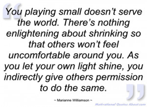 Two dear friends send me this quote this week, and I'm really ...