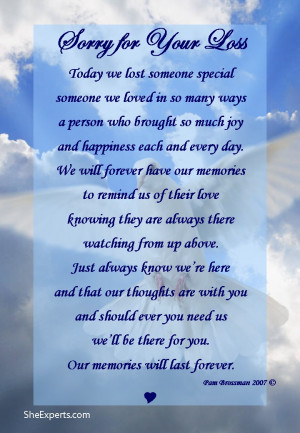 Sorry For Your Loss Quotes Sorry for your loss poem.