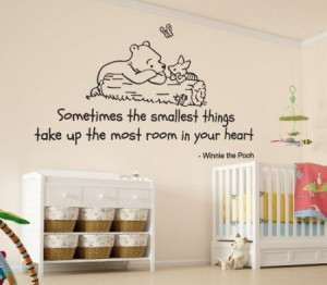 Winnie the Pooh Sometimes the Smallest Things Quote Children's Room ...