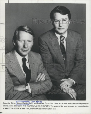 Press Photo editor Robert MacNeil Jim Lehrer The MacNeil Lehrer Report