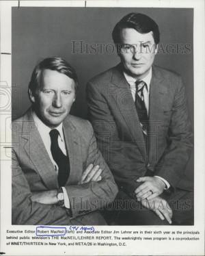 Press Photo editor Robert MacNeil Jim Lehrer The MacNeil Lehrer Report