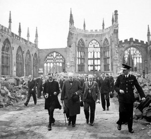 Winston Churchill visiting the ruins of Coventry Cathedral following ...