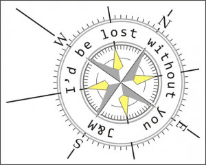 Love Quote Print with Compass, Personalized Nautical Print, Grey and ...