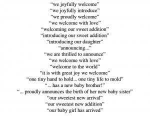 Baby Birth Announcements Wording